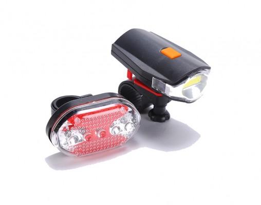 Ліхтарі для велосипеда 630 передній 5WCOB задній 5LED червоний