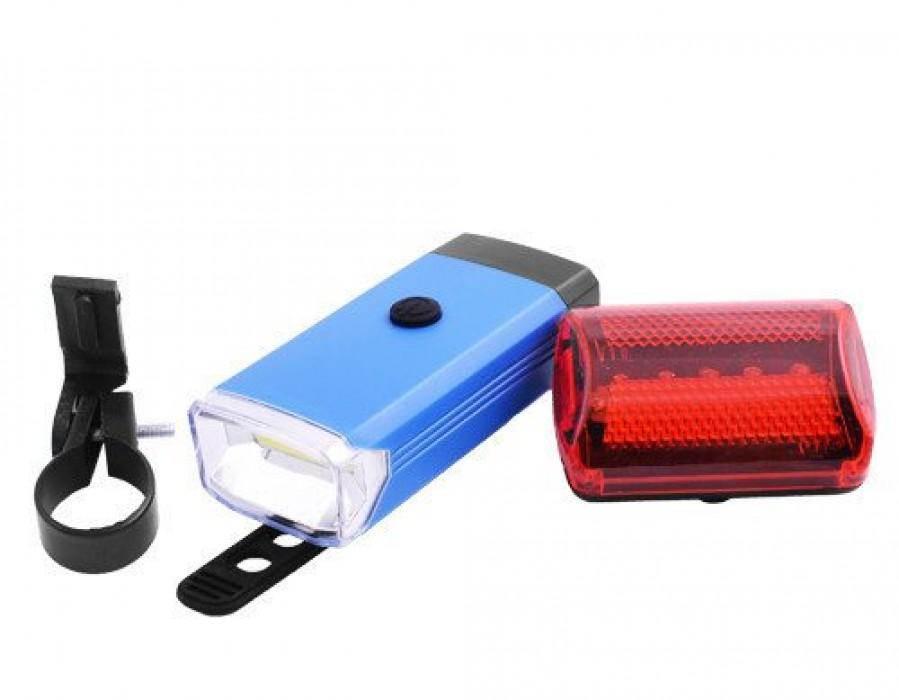 Ліхтарі для велосипеда, передній 5W-COB та задній 5 діодів - комплект, (на батарейках)