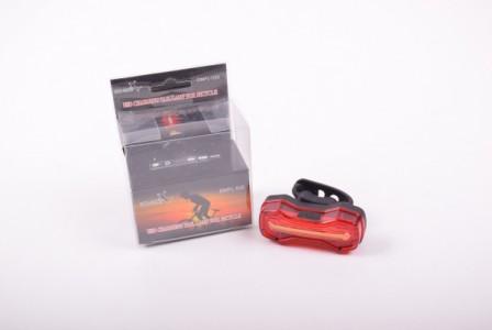 Задня фара СТОП 526 3 діоди (білий+червоний+синій), акум Li-ion, micro USB, waterproof, панель заряд