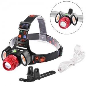 Фара на лоб або руль Police 12V 3117-T6+2COB(red), zoom, акум, micro USB, (синій,червоний)