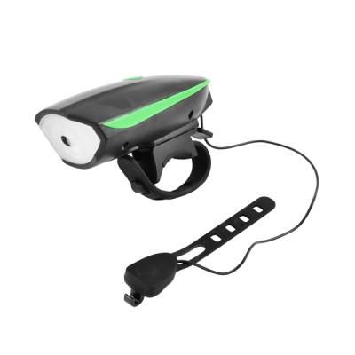 Сигнал велосипедний + фара 588, виносна кнопка, мікро USB