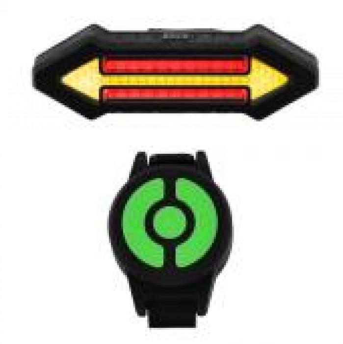 Задня фара СТОП для велосипеда X4 з поворотами (червоний + жовтий) акум,micro USB